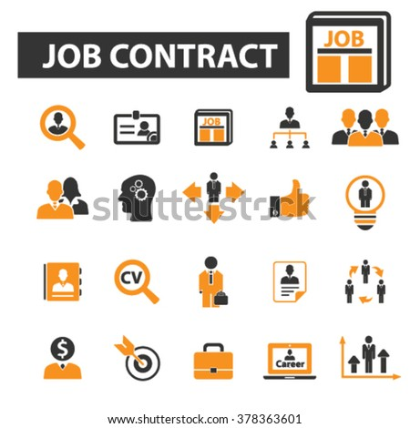 job contract icons - stock vector