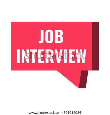 Job interview badge sticker icon red speech bubble logo vector design