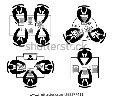 Job interview, Business negotiations, conferences and meetings. Online meeting and Teamwork silhouettes icons. Vector illustration - stock vector