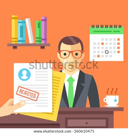Job interview. Rejected job application with a stamp. Sad man didn't get a job. Modern flat design concept for web banners, web sites, infographic. Flat vector illustration isolated on red background - stock vector