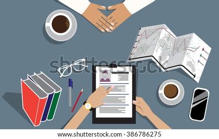 Job interview vector flat illustration - stock vector