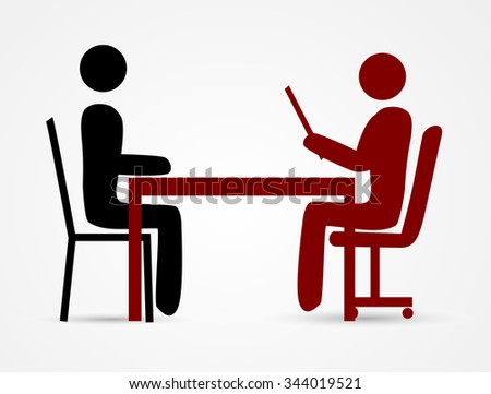 Job Interview with stick man - stock vector