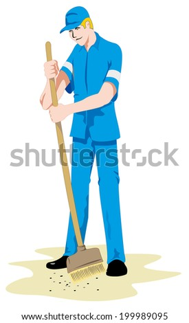 Job janitor person  - stock vector