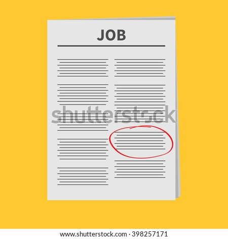 Job Newspaper icon Red pen skrible mark Flat design Isolated Yellow background Vector illustration - stock vector