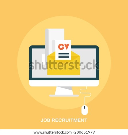 Job recruitment, emailing job resume concept, flat styled icon - stock vector
