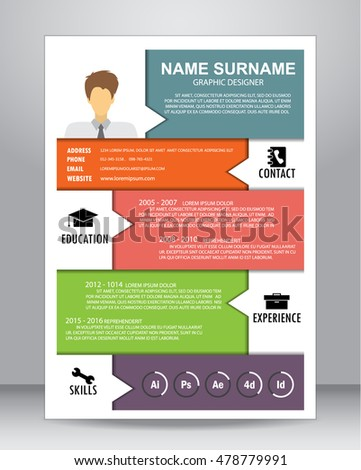 Job resume or CV layout template in A4 size. vector illustration