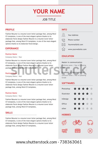 Job Resume Or CV. Layout Template In Letter Size. Vector Illustration  Resume And Cv
