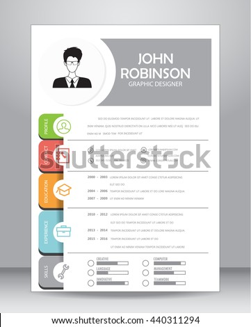 Job resume cv template layout template stock vector 440311294 job resume or cv template layout template in a4 size vector illustration yelopaper Gallery