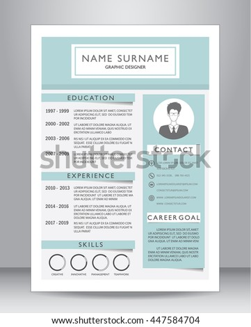 Job resume cv template layout template stock vector 447584704 job resume or cv template layout template in a4 size vector illustration yelopaper Gallery