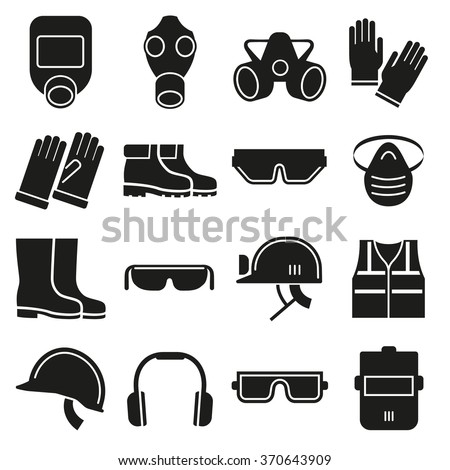 Job safety equipment vector icons set. Safety helmet, equipment for industry job, safety protection mask,  safety glove and glasses illustration - stock vector