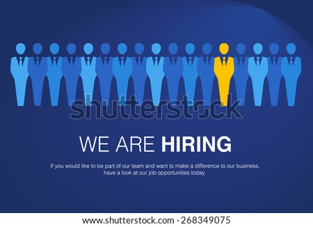 Job search and career choice employment concept with human icons and a red businessman character in yellow human as a symbol of recruitment and occupation discovery. - stock vector