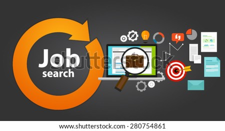 job search bag loop online web employment career - stock vector