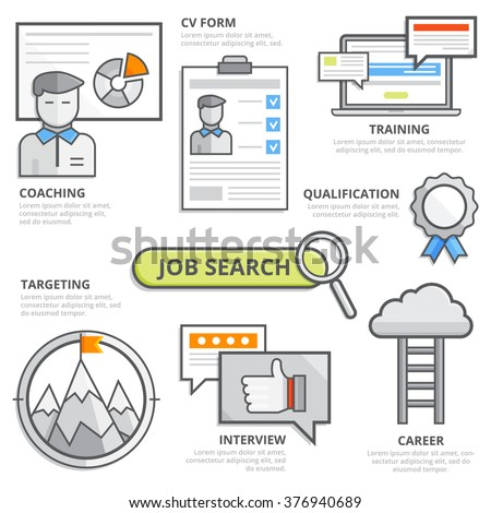 Job search design concept, cv, resume, coaching, training, qualification, targeting, interview, career, strategy, Human resources, goal, team. Modern isolated vector illustration, Infographic template - stock vector