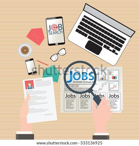 Job search, Finding job, job seeking, conceptual Vector flat illustration. - stock vector