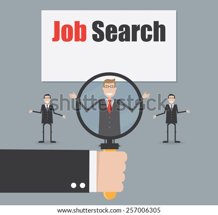 Job search under magnifying glass - stock vector