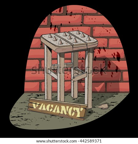 Job vacancy.  Poor job offer. Bad vacancy. Rickety stool with spikes in the spotlight on the brick wall background. Vector illustration.