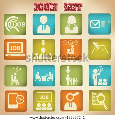 Jobs and Employment  icon set,vector - stock vector