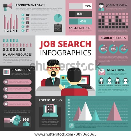 Jobs search strategy with resume and portfolio tips and recruitment statistics infographics flat banners design abstract vector Illustration - stock vector