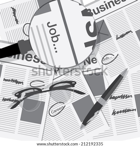 jobs search with newspaper - stock vector