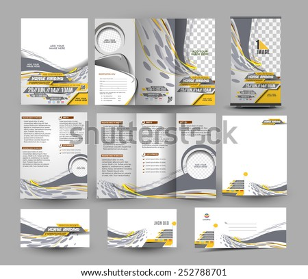 Jockey Competition Stationery Set Template  - stock vector