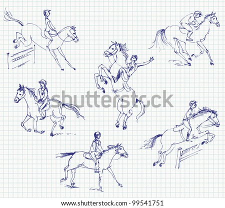 Jockey riding a horse. Set. Hand-drawn. Vector illustration - stock vector