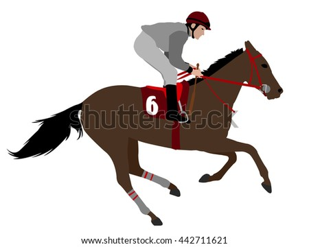 jockey riding race horse illustration 4 - vector - stock vector
