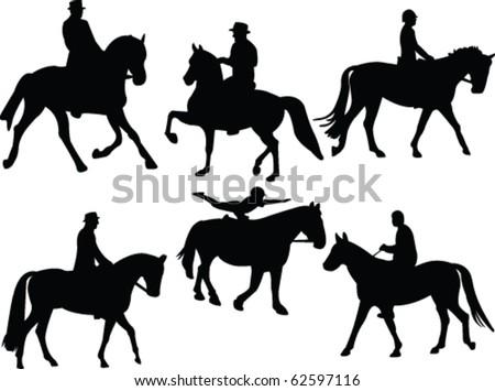 jockey silhouettes collection - vector - stock vector