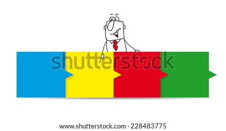 Joe and the horizontal colored dashboard. Joe is pointing a colored dashboard. Tell us your story and write your message on the colored  post-its  - stock vector