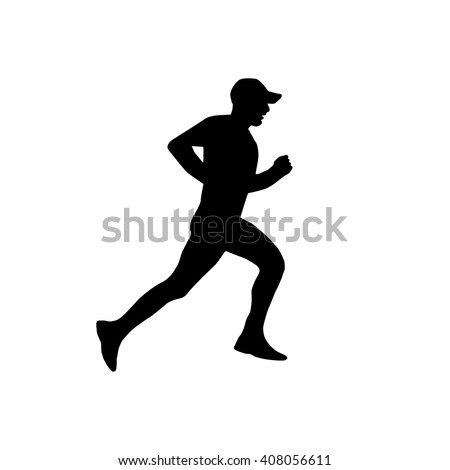 Jogger in silhouette profile. Isolated on white background - stock vector