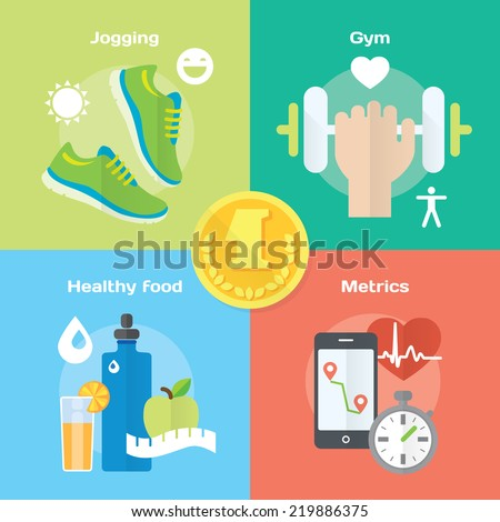 Jogging and running winner concept flat icons of gym, healthy food, metrics. Isolated vector illustration and modern design element - stock vector