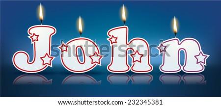 John written with burning candles vector illustration stock vector