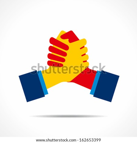 join hand or support hand icon vector - stock vector