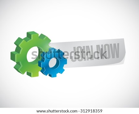 Join Now industrial sign concept illustration design graphic - stock vector
