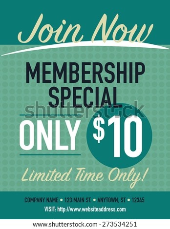 Join now membership special poster, only $10 - stock vector