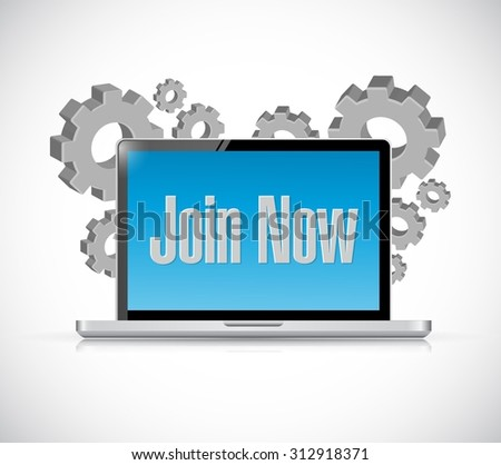 Join Now technology computer sign concept illustration design graphic - stock vector