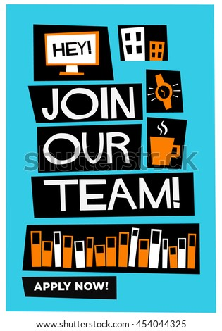 Join our team! (Flat Style Vector Illustration Recruitment Poster Design)