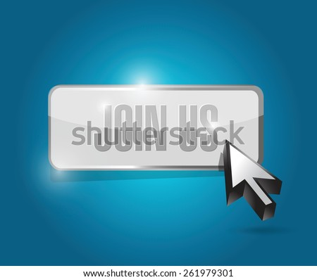 join us button sign concept illustration design over blue - stock vector