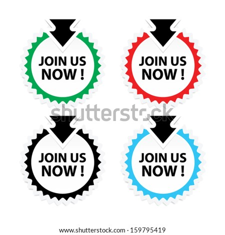 Join Us Now! labels, sticker, icons, and symbol on white background - Vector. - stock vector