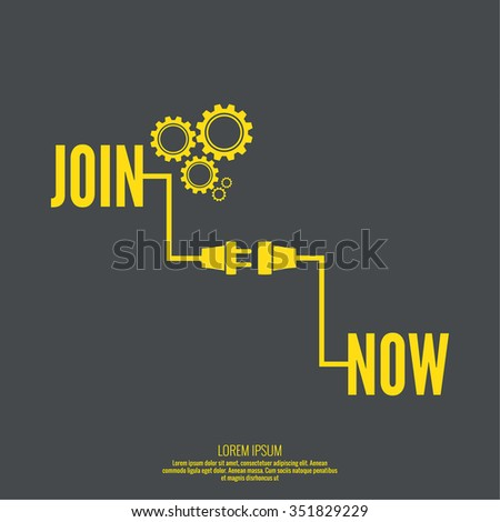 Join Us sign with pointer and arrow. wire plug and socket. - stock vector