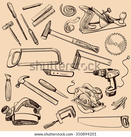 Joinery icons set. Carpenter character at work. Woodworking tools of antique joinery - Craft Woodwork Screwdriver Table Hamme, Carpenter. - stock vector