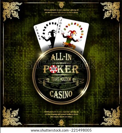 Joker card. Poker and casino label. Vector background. Texas holdem.  - stock vector