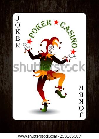Joker card. Vector background. Wood texture. - stock vector