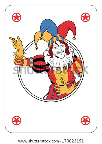 Joker coming out of circle playing card - stock vector