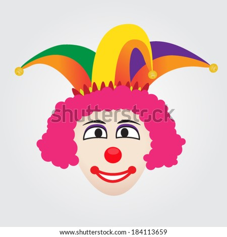 Joker Face With Jester Hat - stock vector