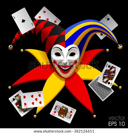 Joker head with playing cards isolated on black. Three Dimensional stylized drawing. Vector illustration - stock vector