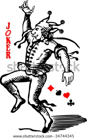 Joker playing card - stock vector