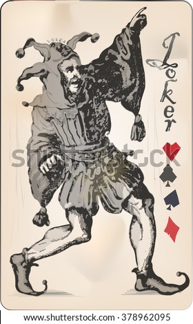 Joker playing card - stock vector