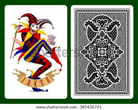Joker playing card and black backside background. Original design. Vector illustration - stock vector