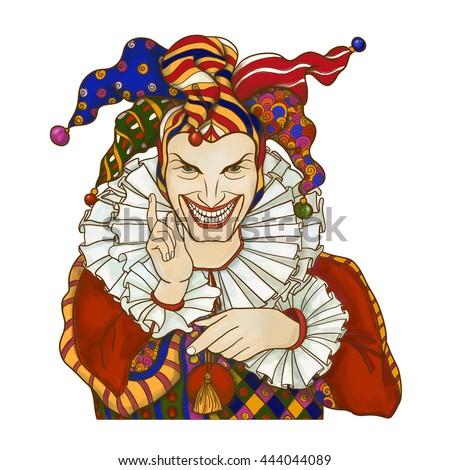 Joker playing card design. Men in joker costume.  Colored vector illustration. - stock vector
