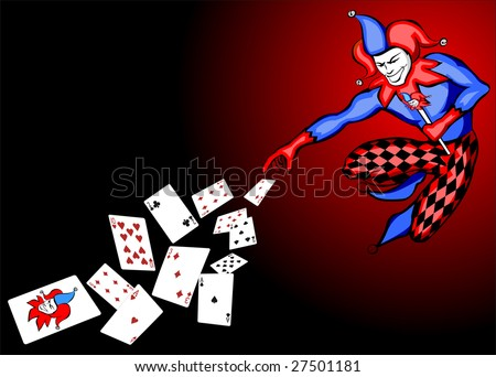 Joker throwing poker cards vector - stock vector